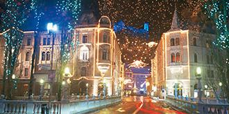 リュブリアーナのクリスマスイルミ
